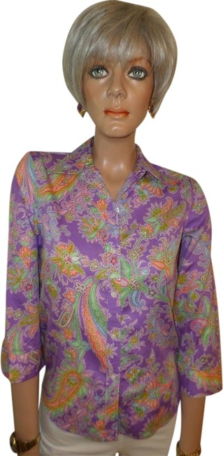 Preload https://item2.tradesy.com/images/ralph-lauren-orchid-paisley-cotton-button-down-top-size-petite-6-s-1964761-0-0.jpg?width=400&height=650