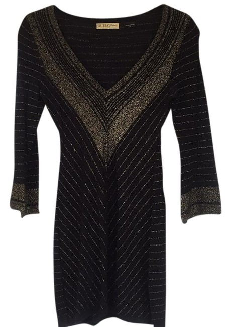 Preload https://img-static.tradesy.com/item/19647656/guess-black-and-metallic-gold-mini-night-out-dress-size-0-xs-0-1-650-650.jpg