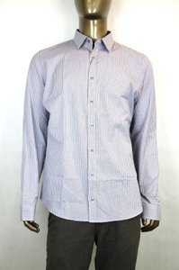 Gucci White/Blue Men's Dress Slim Fit Navy Mini Check 17 307659 4379 Shirt