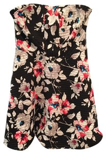Express short dress Black w/ red, white, blue & gray flower print on Tradesy