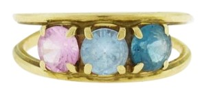 Antique Gold Topaz Ring, Blue Pink Round Topaz