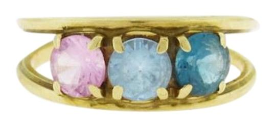 Other Antique Gold Topaz Ring, Blue Pink Round Topaz