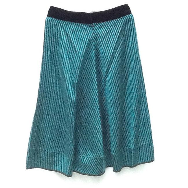 Marc Jacobs Skirt 100% black & teal stripes with a black velvet belt & bow.