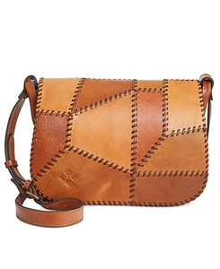 Patricia Nash Designs Patchwork Front Flap Brass Embossed Handcrafted Saddle Messenger Bag