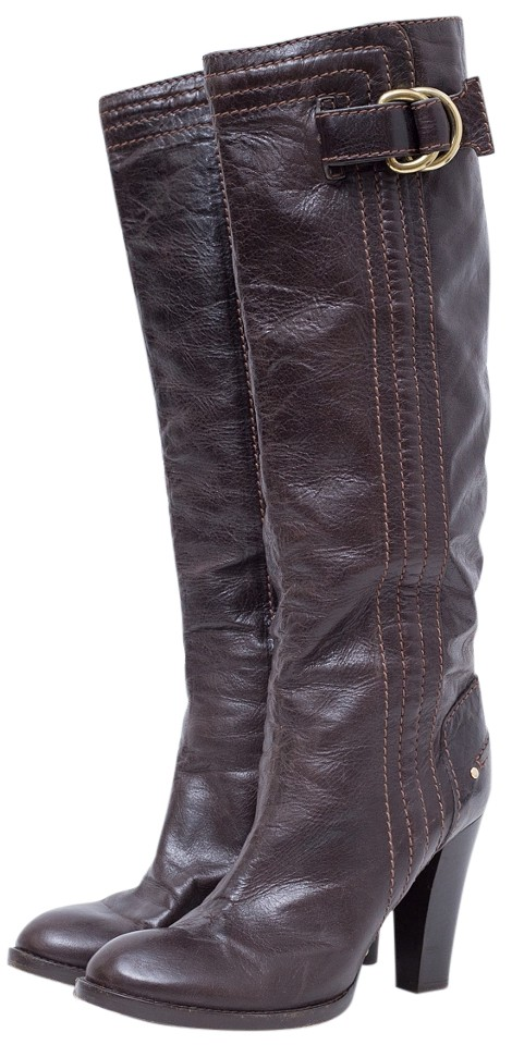 Chloé Brown Knee Dark High Dark Knee Leather Boots/Booties f7c1ef