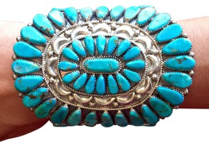 Vintage Navajo Amazing museum quality vintage sterling silver & number 8 Turquoise Vintage Signed Navajo Ciff