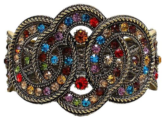 Other Antique Gold Multicolor Crystal Hinged Cuff Bracelet Bangle
