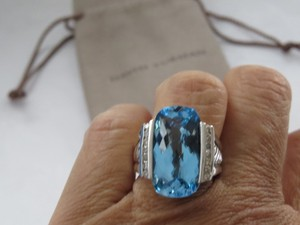 ef146d37d0ca David Yurman Refurbished by DY - Deco Elong Hampton Blue Topaz Diamond SS  Ring