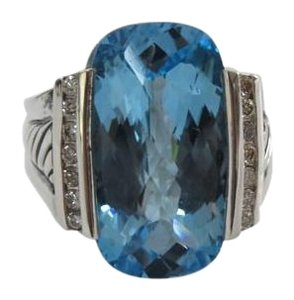 David Yurman Refurbished by DY - Deco Elong Hampton Blue Topaz/Diamond SS Ring