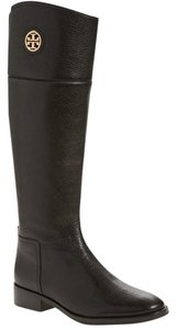Tory Burch Leather Logo Equestrian Black Boots