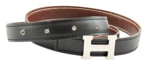 Hermès #8779 RARE 18 Mm Silver H Size 75 Reversible Belt Black on Brown