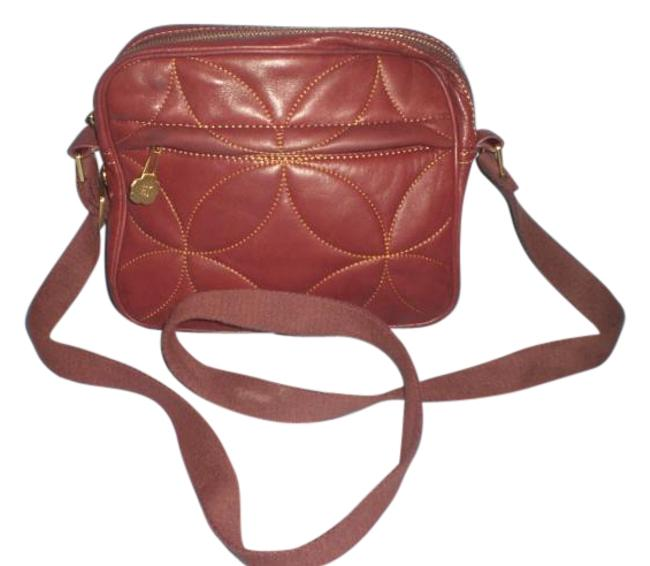 Eric Javits Quiltted Shoulder / Gold Tone Maroon Leather Cross Body Bag Eric Javits Quiltted Shoulder / Gold Tone Maroon Leather Cross Body Bag Image 1