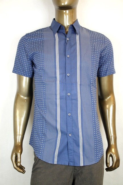 Gucci Blue W Sleeve Skinny W/Stripes Dots 15 324812 4203 Shirt Gucci Blue W Sleeve Skinny W/Stripes Dots 15 324812 4203 Shirt Image 1