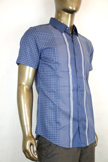 Gucci Blue Sleeve Skinny W/Stripes Dots 16.5 324812 4203 Shirt