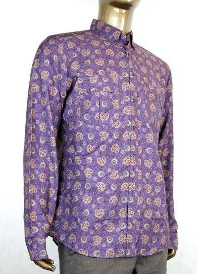 Gucci Purple Men's Peacock Floral Dress Slim 16 336766 5062 Shirt