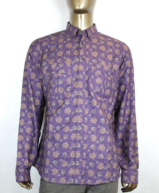 Gucci Purple Men's Peacock Floral Dress Slim 17 336766 5062 Shirt Gucci Purple Men's Peacock Floral Dress Slim 17 336766 5062 Shirt Image 1