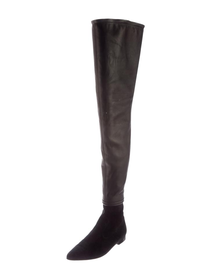049086bda12 Chanel Black Pointed Over The Knee Boots Booties Size US 7.5 Regular ...