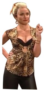 Sky Keyhole Party Top Leopard Animal Print