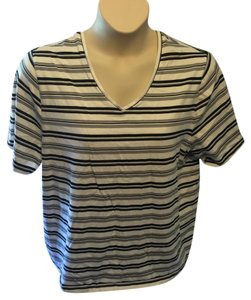 Liz Claiborne Stretchy Plus-size Casual T Shirt Black, Gray and White