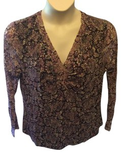 Alfani Stretchy Plus-size Casual Floral Lace Top Purple and black
