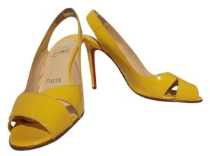 Christian Louboutin Sling Back Patent Leather Red Bottom yellow Pumps
