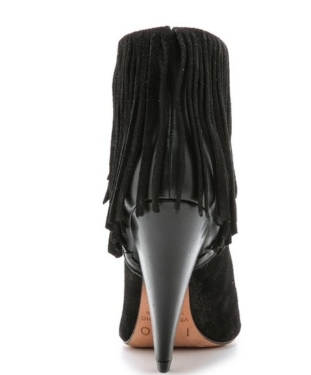 IRO Fringed Cuff Suede And Leather Metal Trim Covered Cone Heel Irk Ankle Black Boots