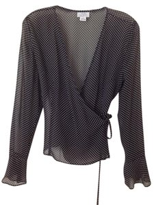 Ann Taylor Top Black and white polka dot
