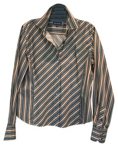 Faonnable Button Down Shirt Multi (blue, green & brown)