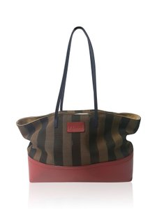 Fendi Pequin Tote in Brown / Red