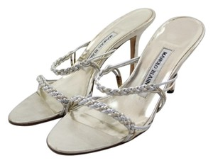 Manolo Blahnik Woven Gold Silver Metallic Sandals