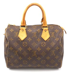Louis Vuitton Monogram Leather Canvas Speedy Brown Travel Bag