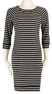 Max Studio Weekend short dress Black White Striped French Terry Tunic on Tradesy