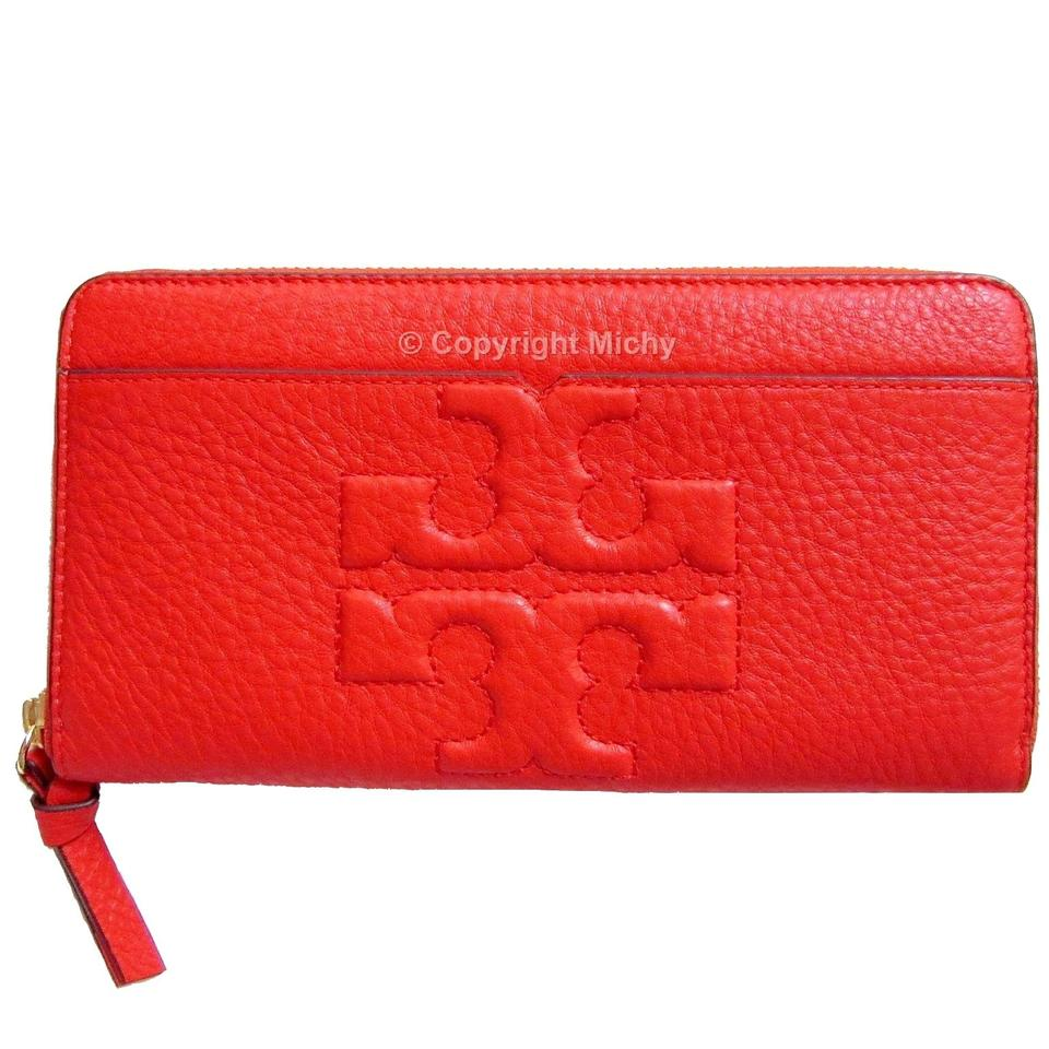 9afb2731d2 Tory Burch Poppy Red (Orange) T Bombe Bombe-t Zip Continental Wallet ...
