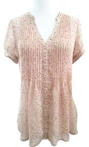 Forever 21 Button Down Flowy Sheer Chiffon Floral Top Pink