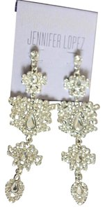 Jennifer Lopez CHANDELIER RHINESTONE ENCRUSTED SILVER TONE PIERCED EARRINGS
