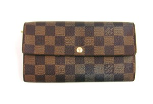 Louis Vuitton Sarah Damier Canvas Leather Clutch Long Wallet