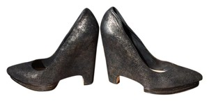 BCBGMAXAZRIA Leather Platforms Black, dusted in gold Pumps