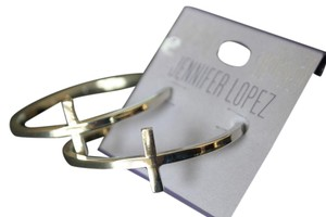 Jennifer Lopez SILVER TONE PIERCED HOOP CROSS EARRINGS