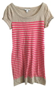 Banana Republic short dress Tan and Coral Striped on Tradesy