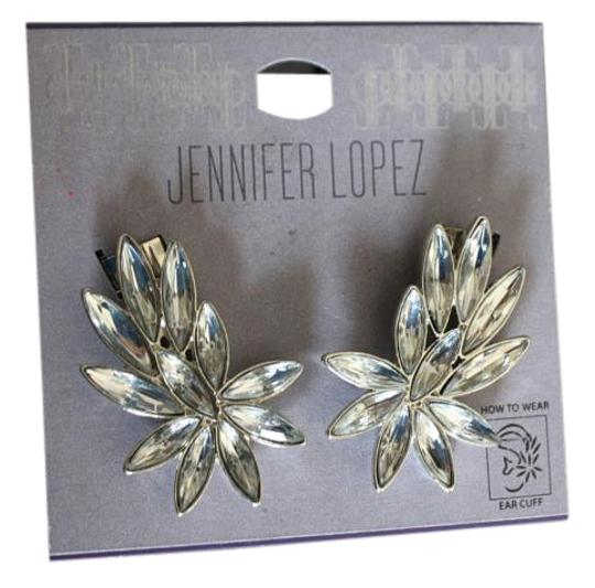Jennifer Lopez SILVER TONE PIERCED EARCUFF RHINESTONE EARRINGS