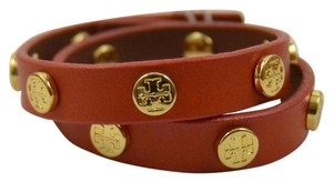 Tory Burch New Logo Studded Double Wrap Bracelet in Orange