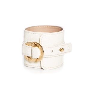 BVLGARI Leather Wide Cuff Gold-Tone Hardware Bracelet