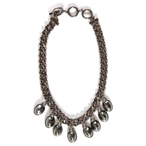 Givenchy Givenchy Gunmetal Tone & Gray Pearl Chain Necklace