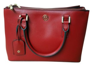 Tory Burch Leather Gold Hardware Tote in red