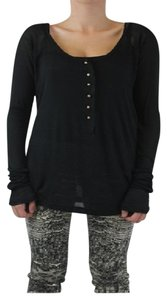 One Teaspoon Henley T Shirt Black