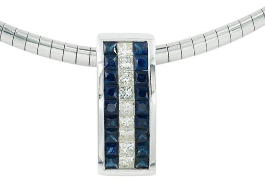 Preload https://item5.tradesy.com/images/sapphires-and-white-diamonds-18-carat-8-carat-pendant-on-an-16-omega-necklace-19649779-0-1.jpg?width=440&height=440