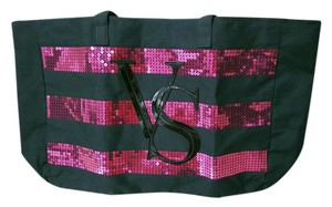 Victoria's Secret Weekend Tote Victoria Black & Pink Sequins Travel Bag