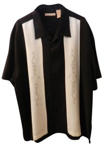 The Havanera Co Button Down Shirt Black with cream inserts