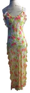 multi floral yellows and hot pinks Maxi Dress by Victorias secret floral print full length ruffle trimmed gown set