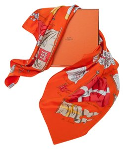Hermès Orange Pavois Authentic With a Box Silk Scarf